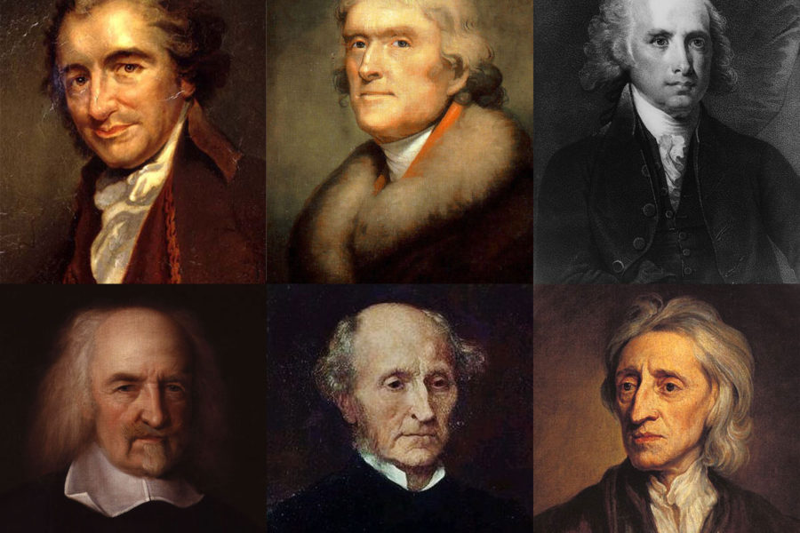 The portraits of several important thinkers in political philosophy.
