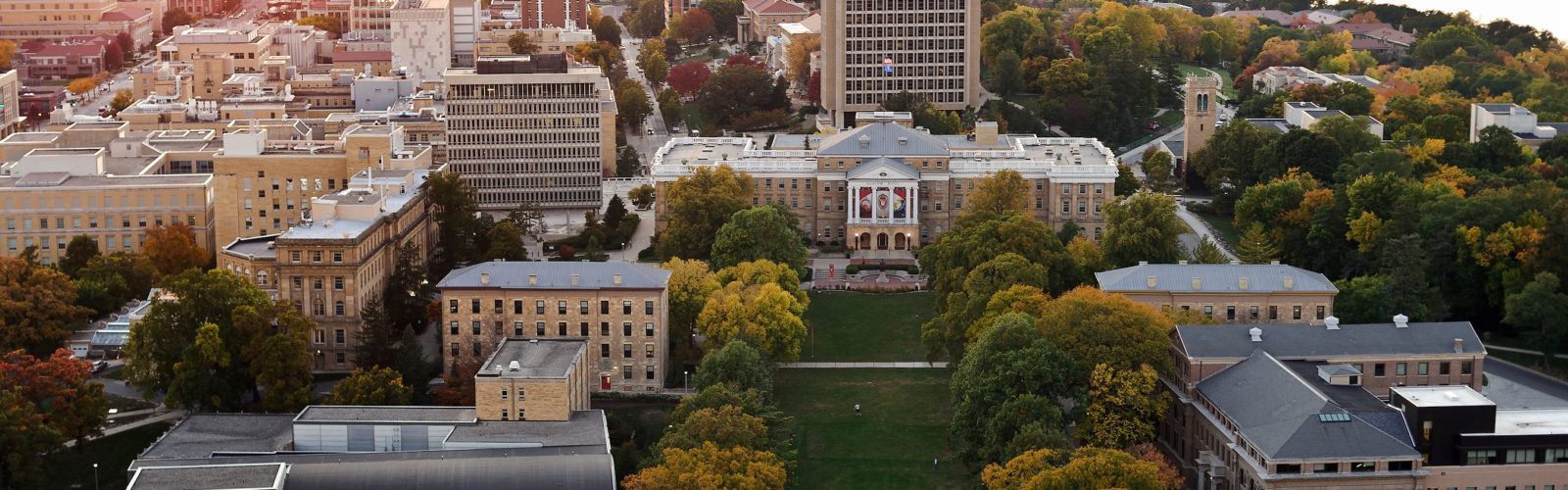 Aerial view of the UW-Madison campus.